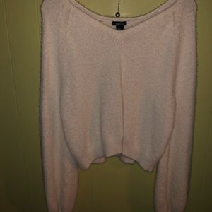 fuzzy cropped sweater bell sleeved